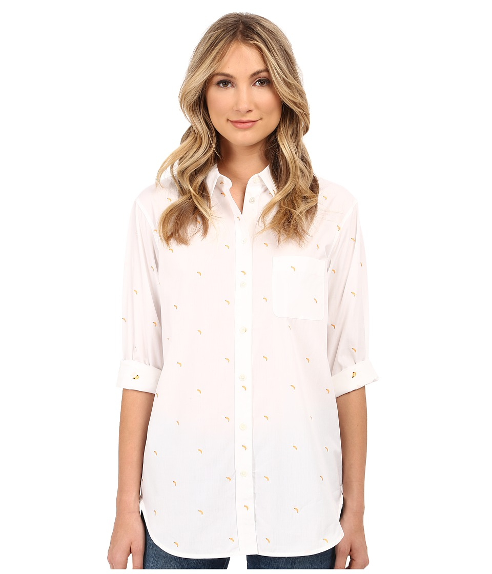 EQUIPMENT Kenton Button Up with Banana Embroidery Bright White Womens Long Sleeve Button Up