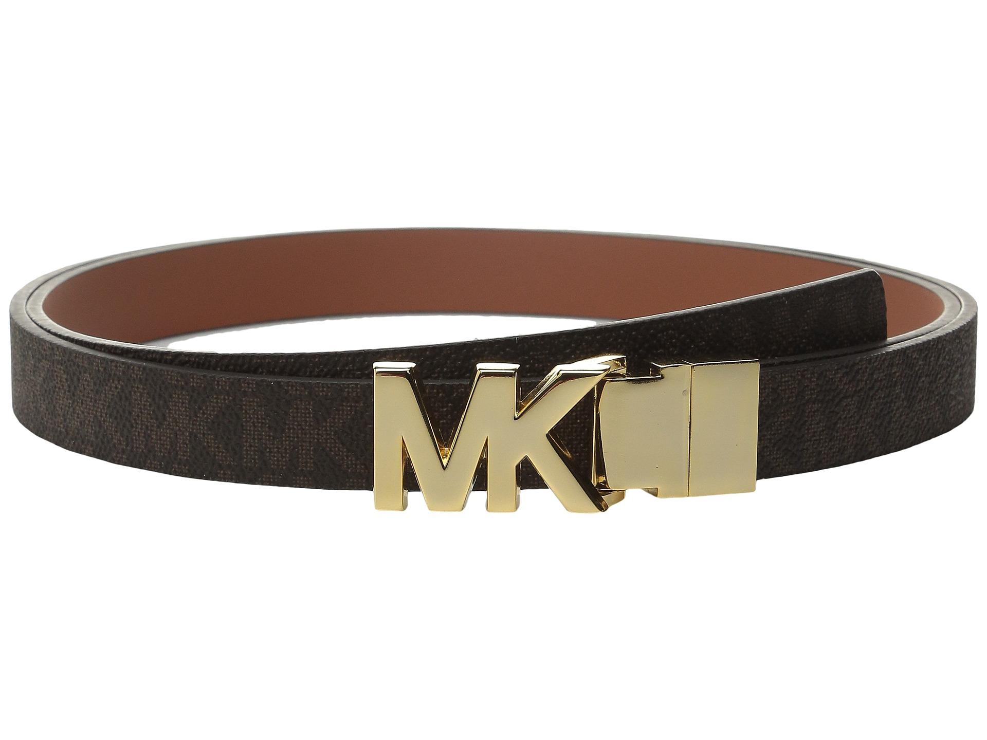 michael michael kors 20mm reversible logo pvc to smooth belt on mk plaque buckle. Black Bedroom Furniture Sets. Home Design Ideas