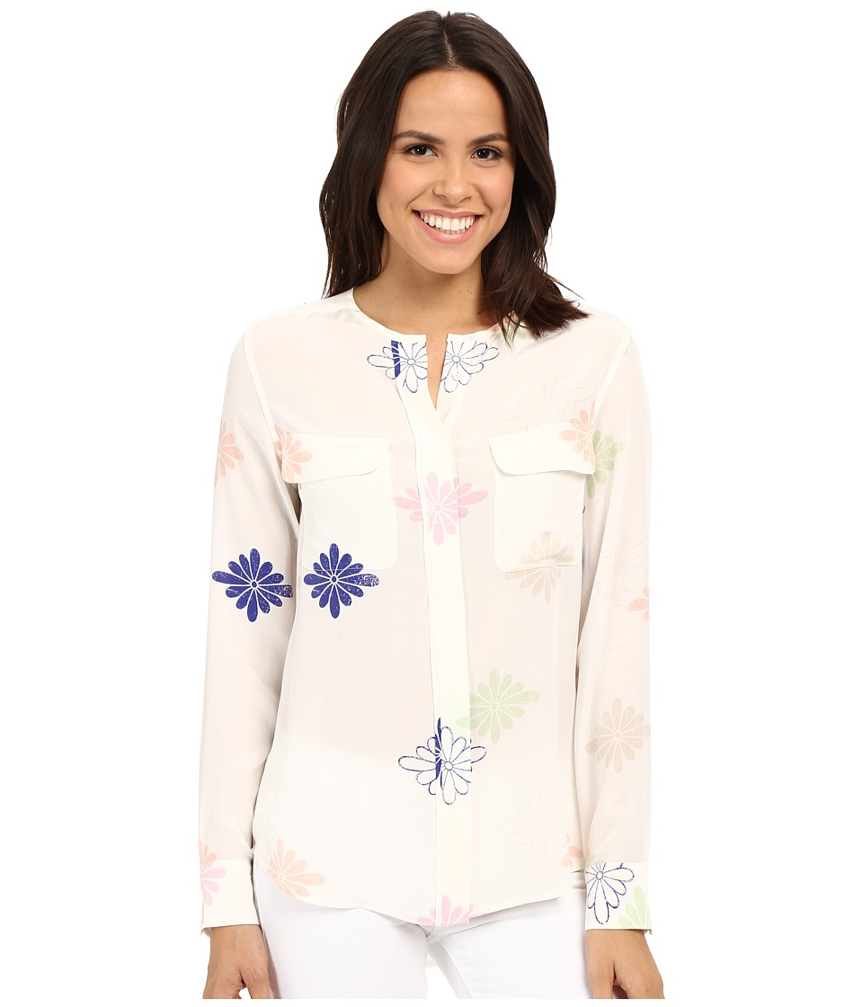 EQUIPMENT Lynn Bright White Multi Womens Long Sleeve Button Up
