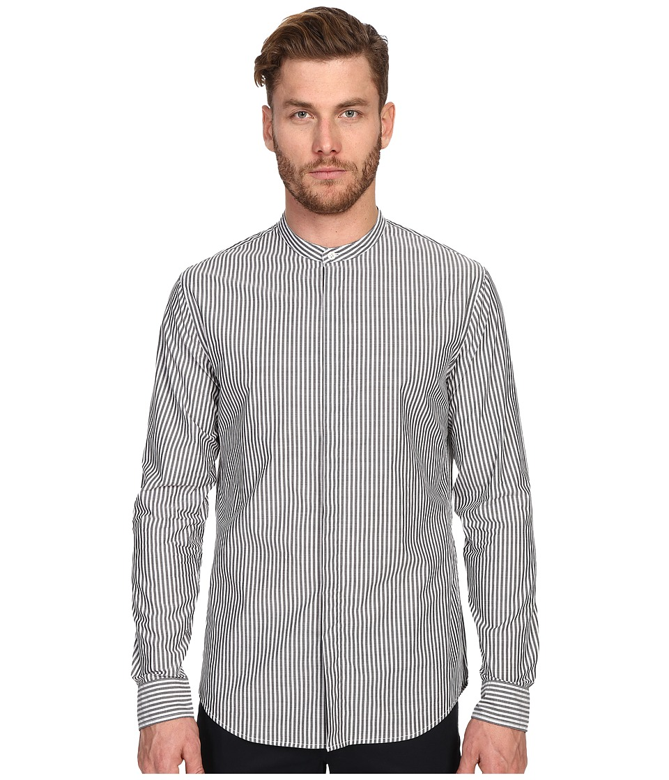 Vince Bar Stripe Banded Collar Long Sleeve Relaxed Shirt Black Mens Clothing