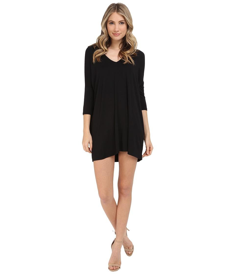Michael Stars 3/4 Sleeve V Neck Dress Black Womens Dress