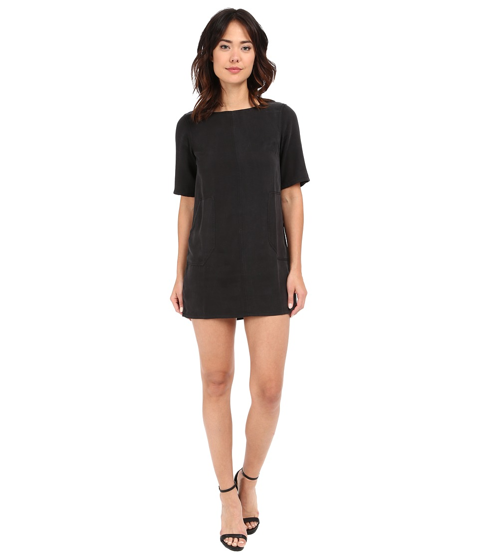 Michael Stars Tencel Elbow Sleeve Shift Dress (Black) Women
