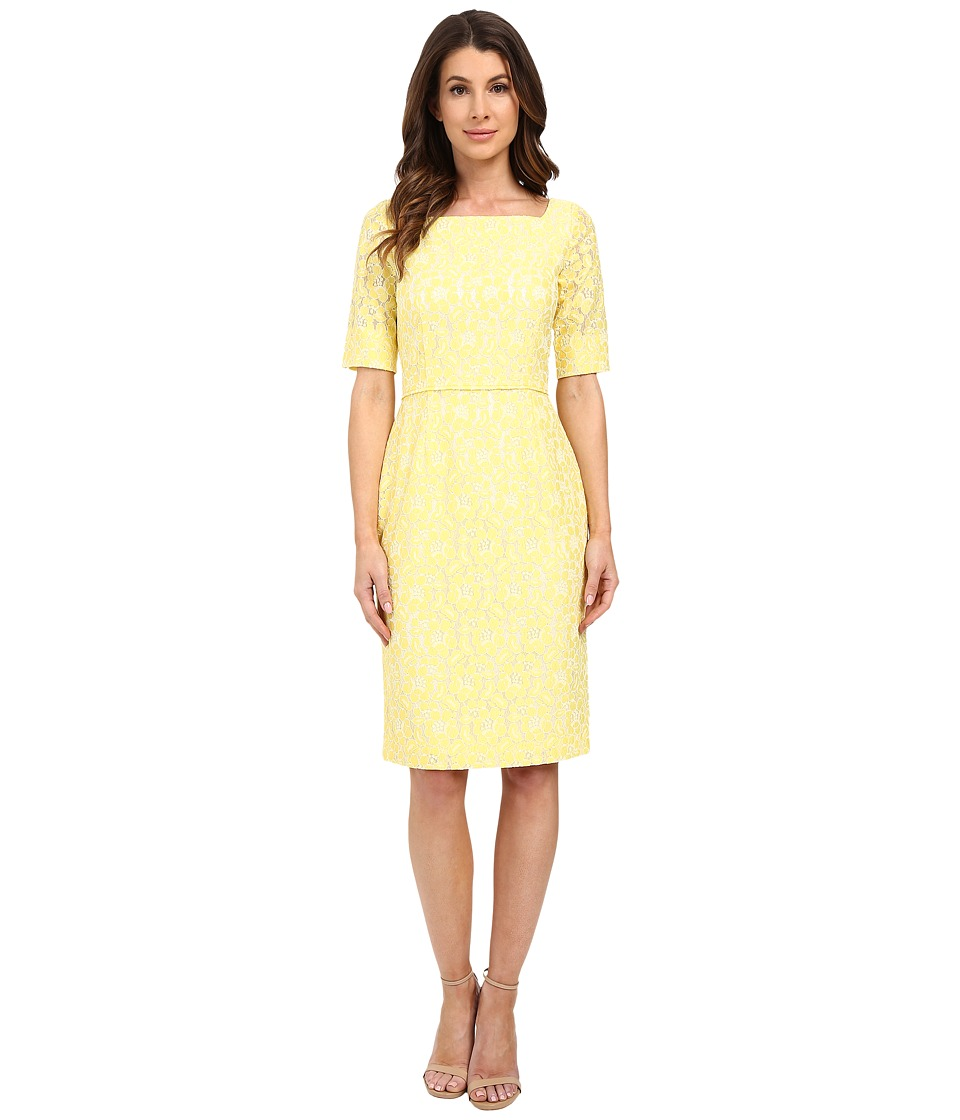 Tahari by ASL Alyssa P Knit Dress Yellow/Ivory Womens Dress