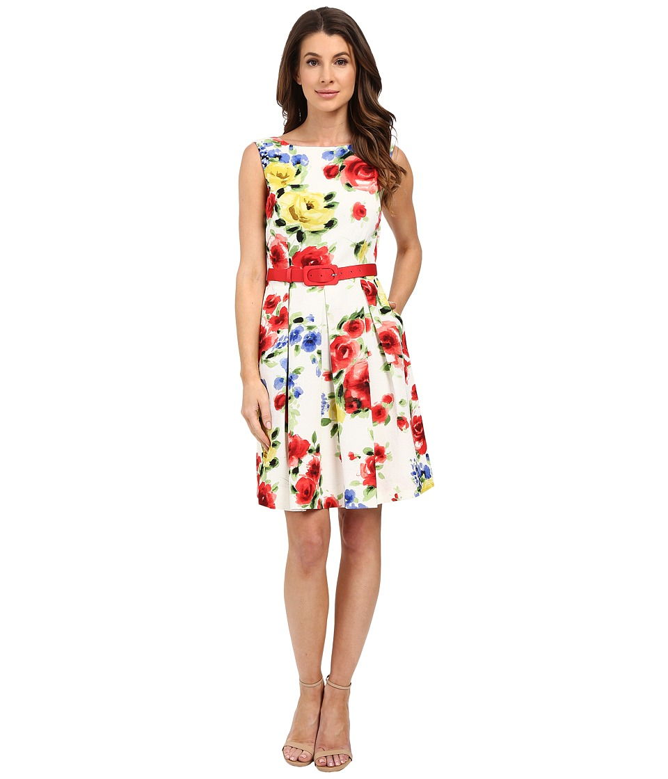 Tahari by ASL Belt Emilia P Dress Ivory/Scarlet/Yellow Womens Dress
