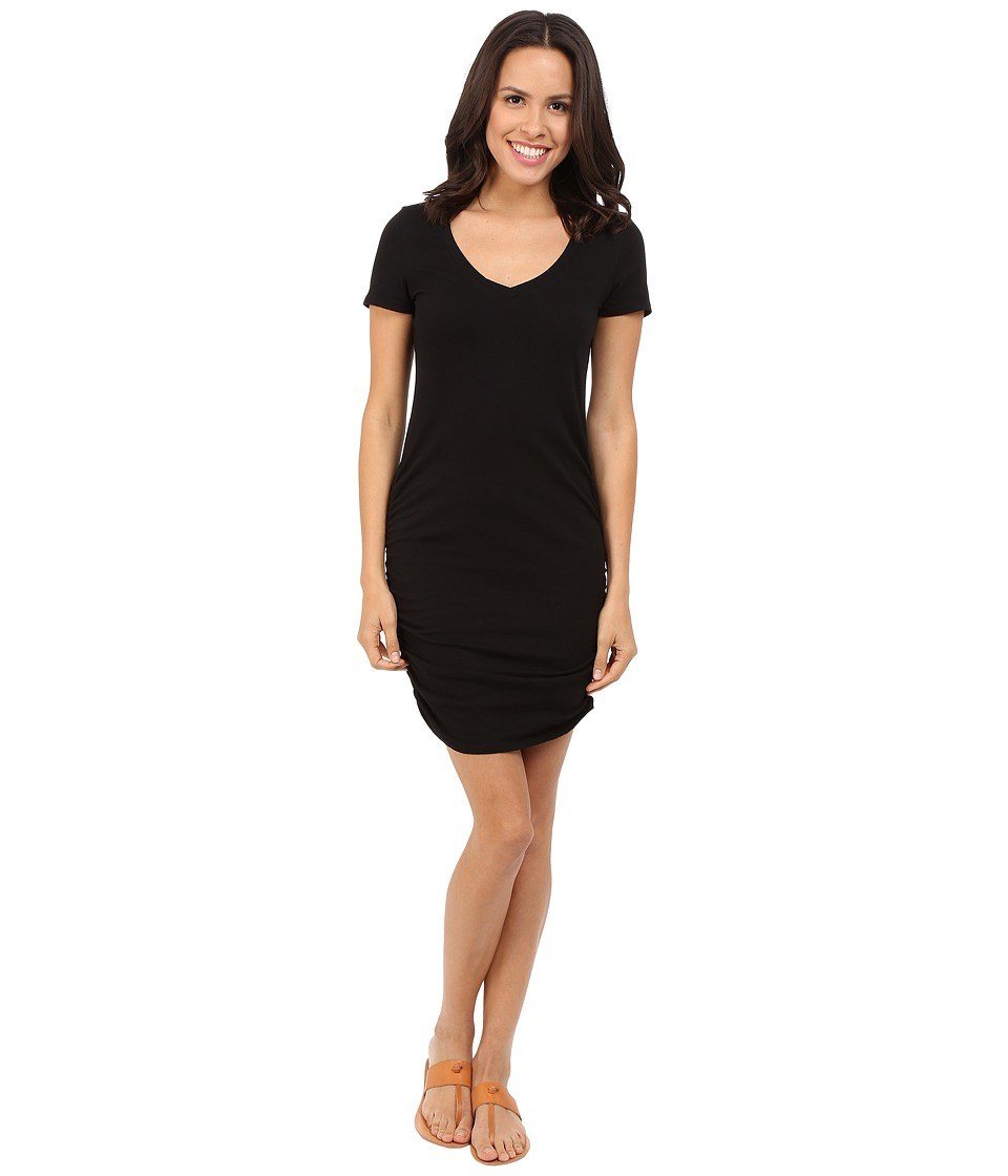 Michael Stars Short Sleeve V-Neck Rouched Mini Dress (Black) Women