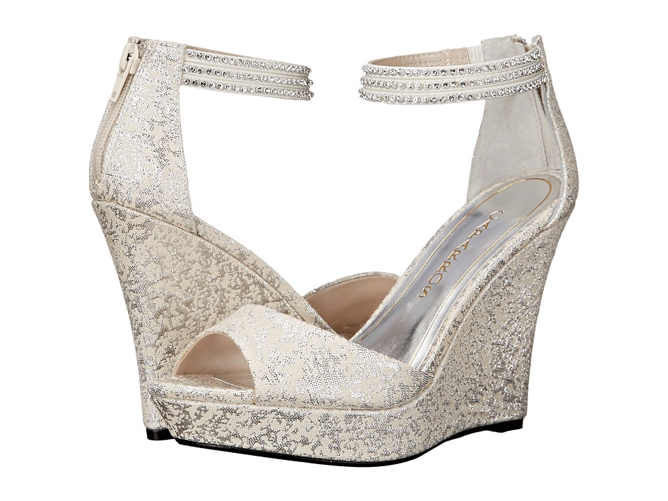 Caparros Chablis Silver Brocade Womens Wedge Shoes