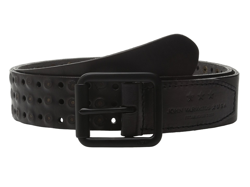 John Varvatos 38mm Roller Center Bar Studded Belt Black Mens Belts