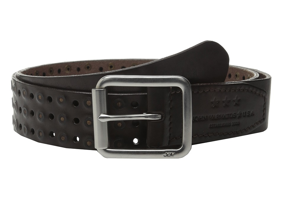 John Varvatos 38mm Roller Center Bar Studded Belt Dark Brown Mens Belts