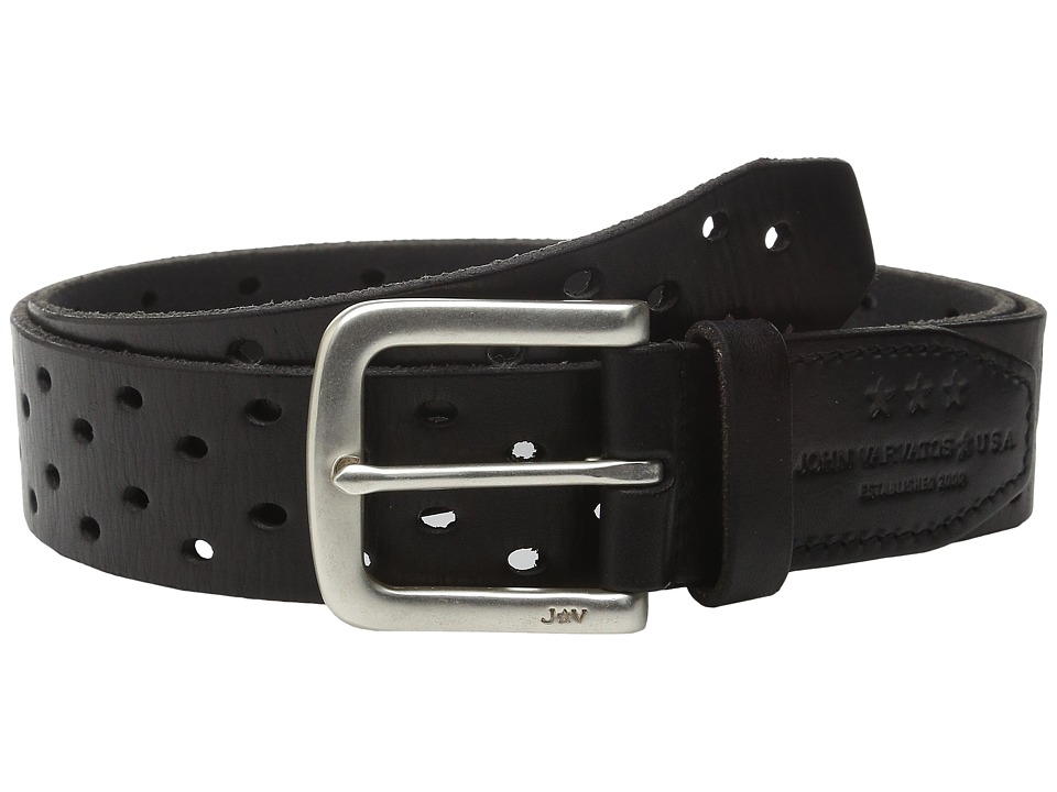 John Varvatos - 38mm Harness Perforated Veg Belt (Black) Men