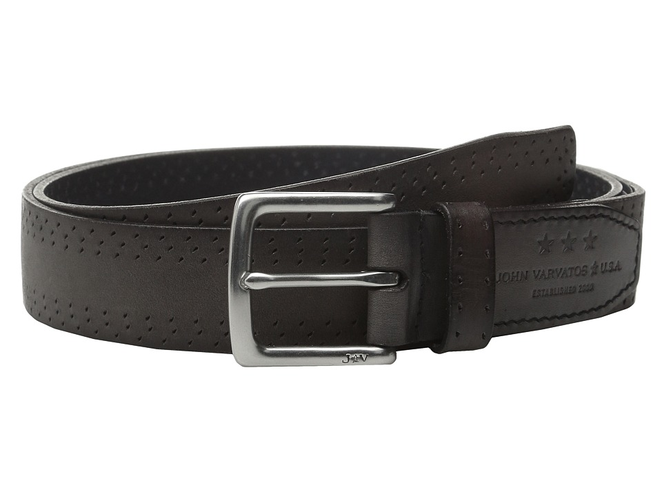 John Varvatos 35mm Harness Perf Edge Belt Elephant Mens Belts