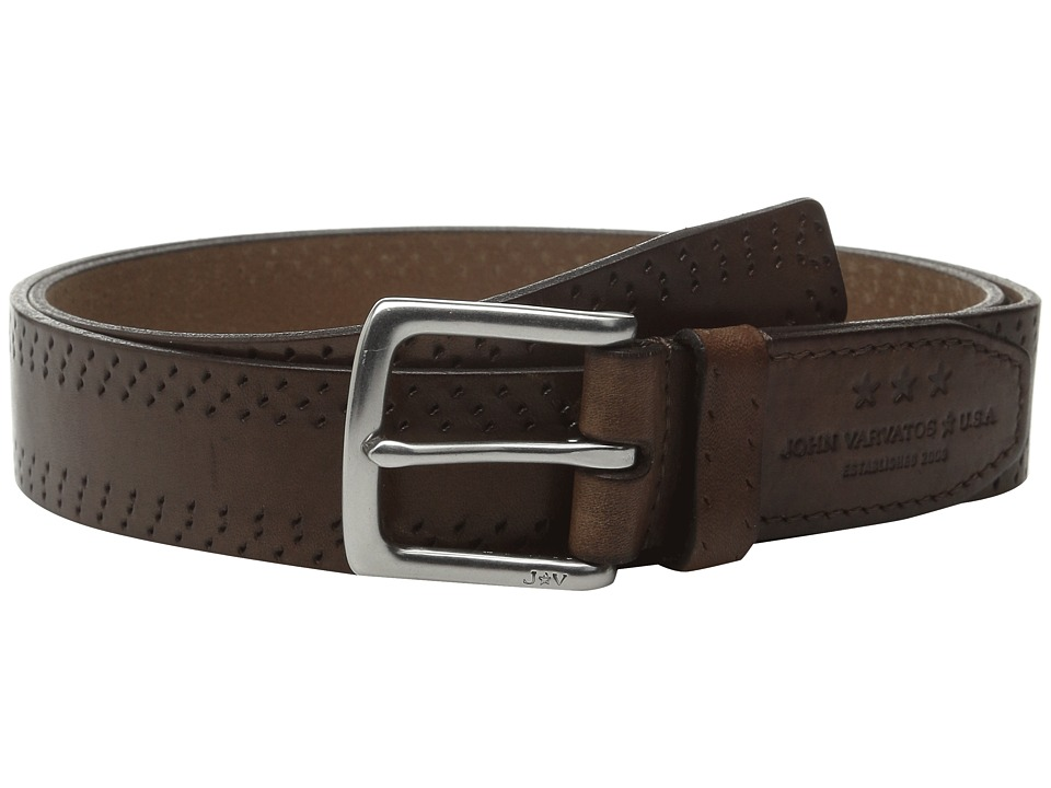 John Varvatos 35mm Harness Perf Edge Belt Cognac Mens Belts
