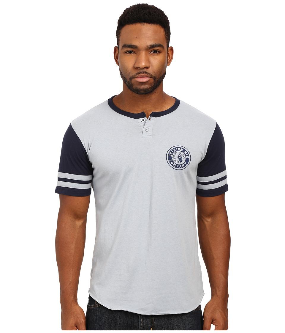 Brixton - Rival Short Sleeve Henley (Light Blue/Navy) Men