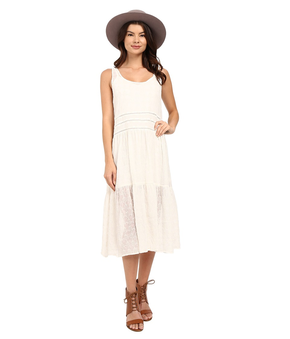BB Dakota Clara Embroidered Chiffon Trapeze Dress with Slip Antique Ivory Womens Dress