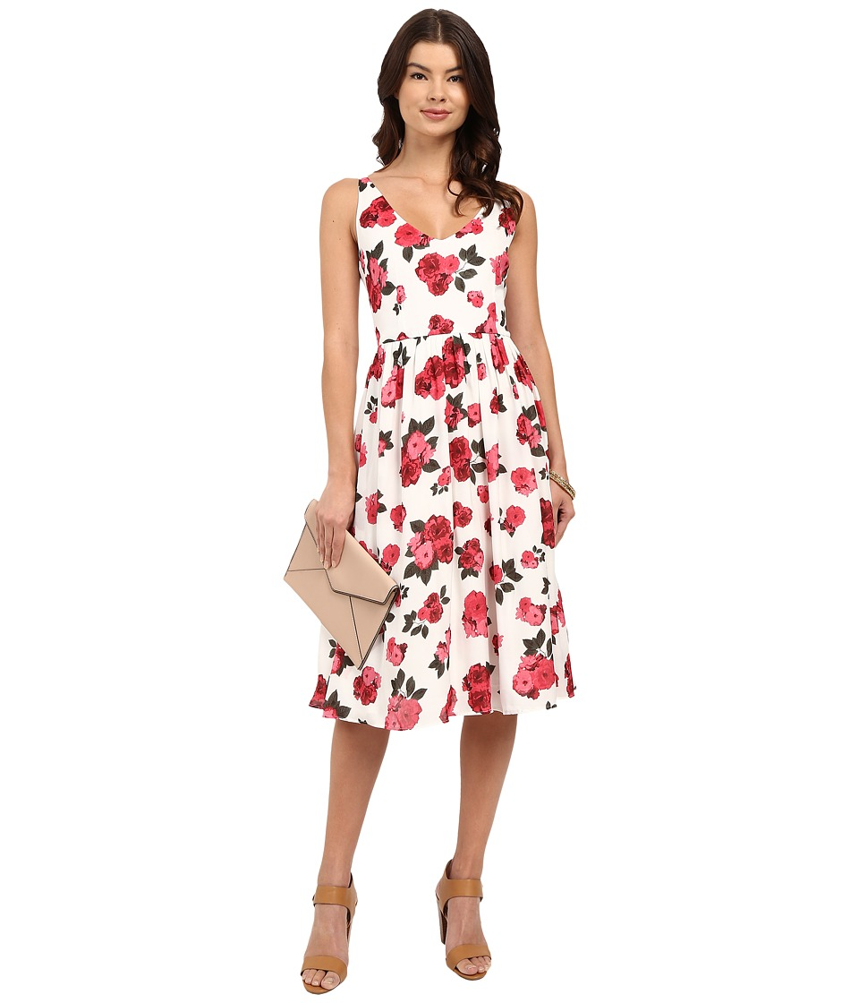 BB Dakota Claudia Summer Rose Printed Reverse Crepon Midi Dress Ivory Womens Dress