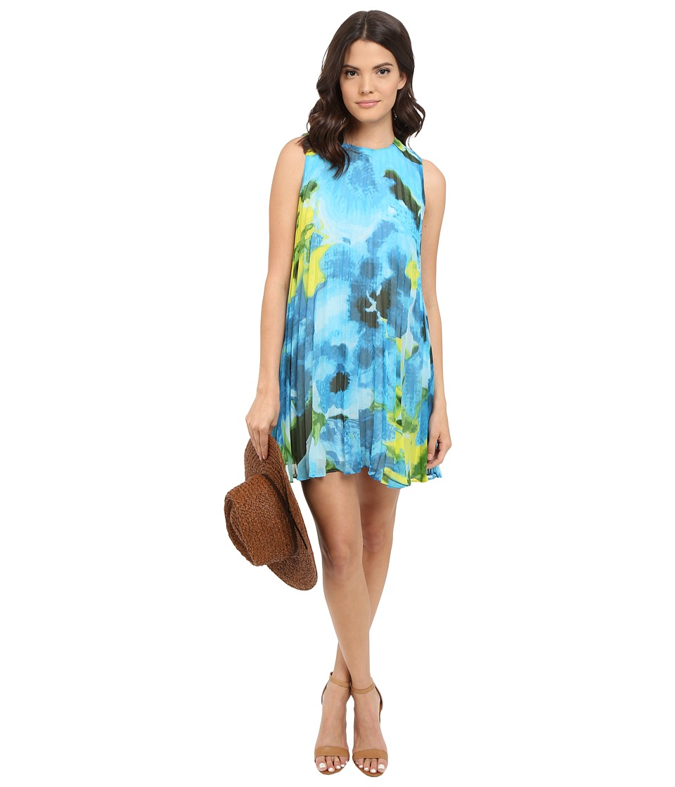 BB Dakota Courtney Large Floral Printed Chiffon Pleated Dress Sea Blue Womens Dress
