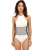 DKNY - A Lister Racer Front Maillot w/ Stripping Detail & Removable Soft Cups