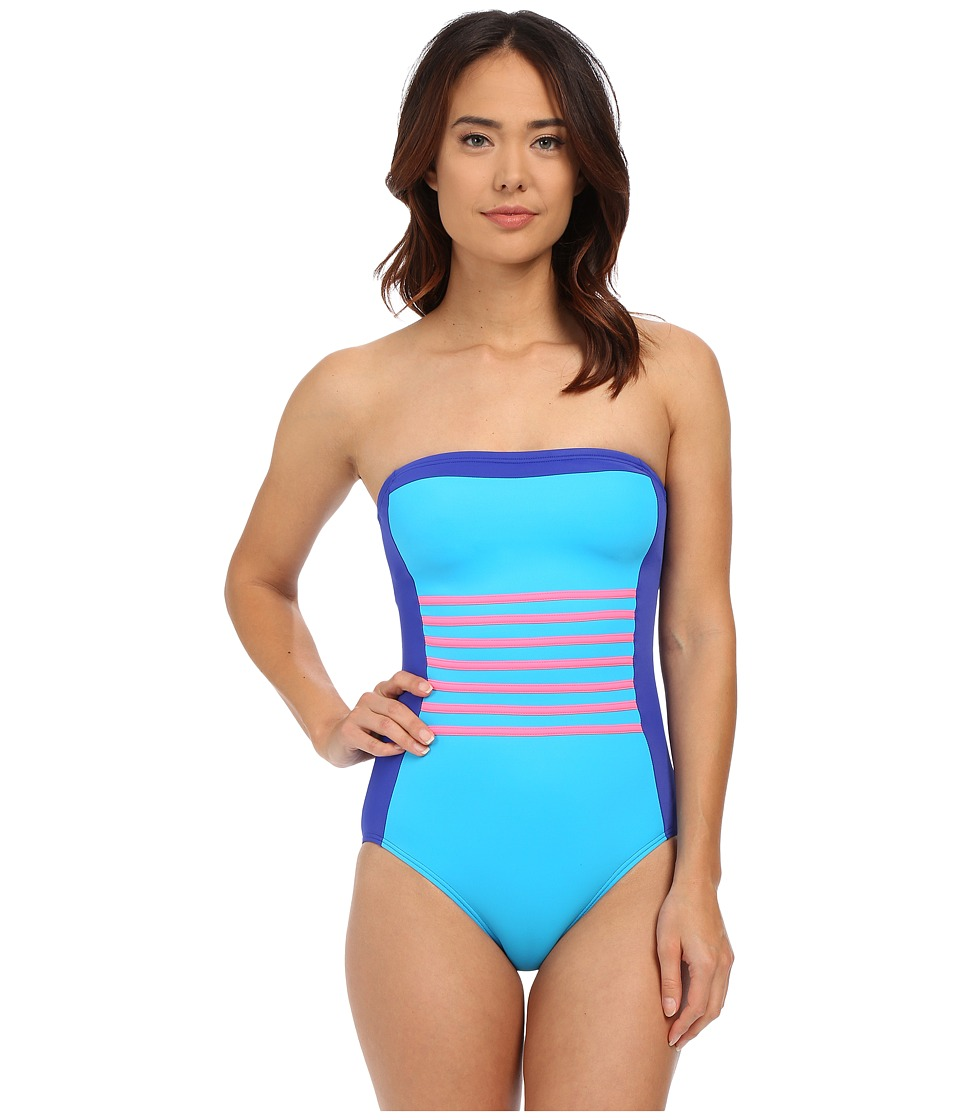 DKNY A Lister Bandeau Maillot w/ Stripping Detail Removable Soft Cups Electric Womens Swimsuits One Piece