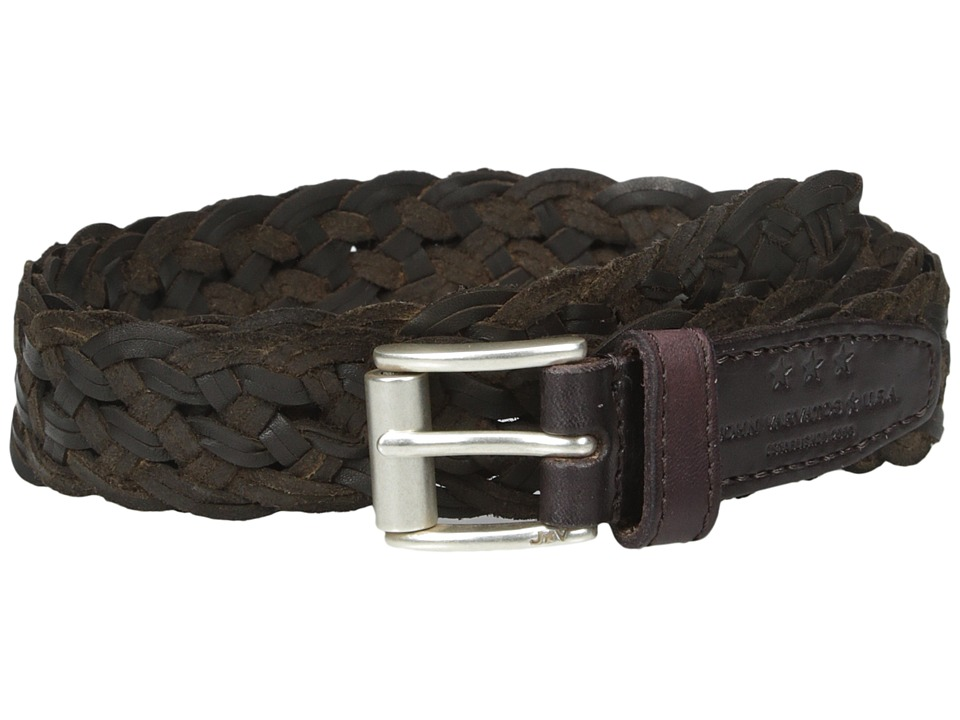 John Varvatos 25mm Roller Harness Braided Leather Belt Chocolate Mens Belts