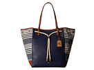 LAUREN by Ralph Lauren Oxford Chambray Stripe Large Tote