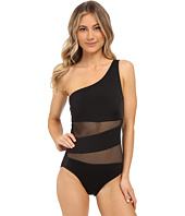 DKNY - Mesh Effect Mesh Splice One Shoulder Maillot w/ Removable Soft Cups
