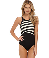 DKNY - Iconic Stripe High Neck Maillot w/ Removable Soft Cups