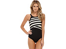 Iconic Stripe High Neck Maillot w/ Removable Soft Cups
