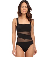DKNY - Mesh Effect Mesh Splice Maillot w/ Removable Soft Cups