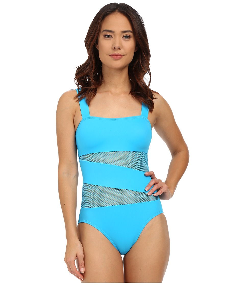 DKNY Mesh Effect Mesh Splice Maillot w/ Removable Soft Cups Azurite Womens Swimsuits One Piece