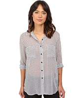 BB Dakota - Stefan Grid Printed Crinkle Chiffon Button Front Shirt