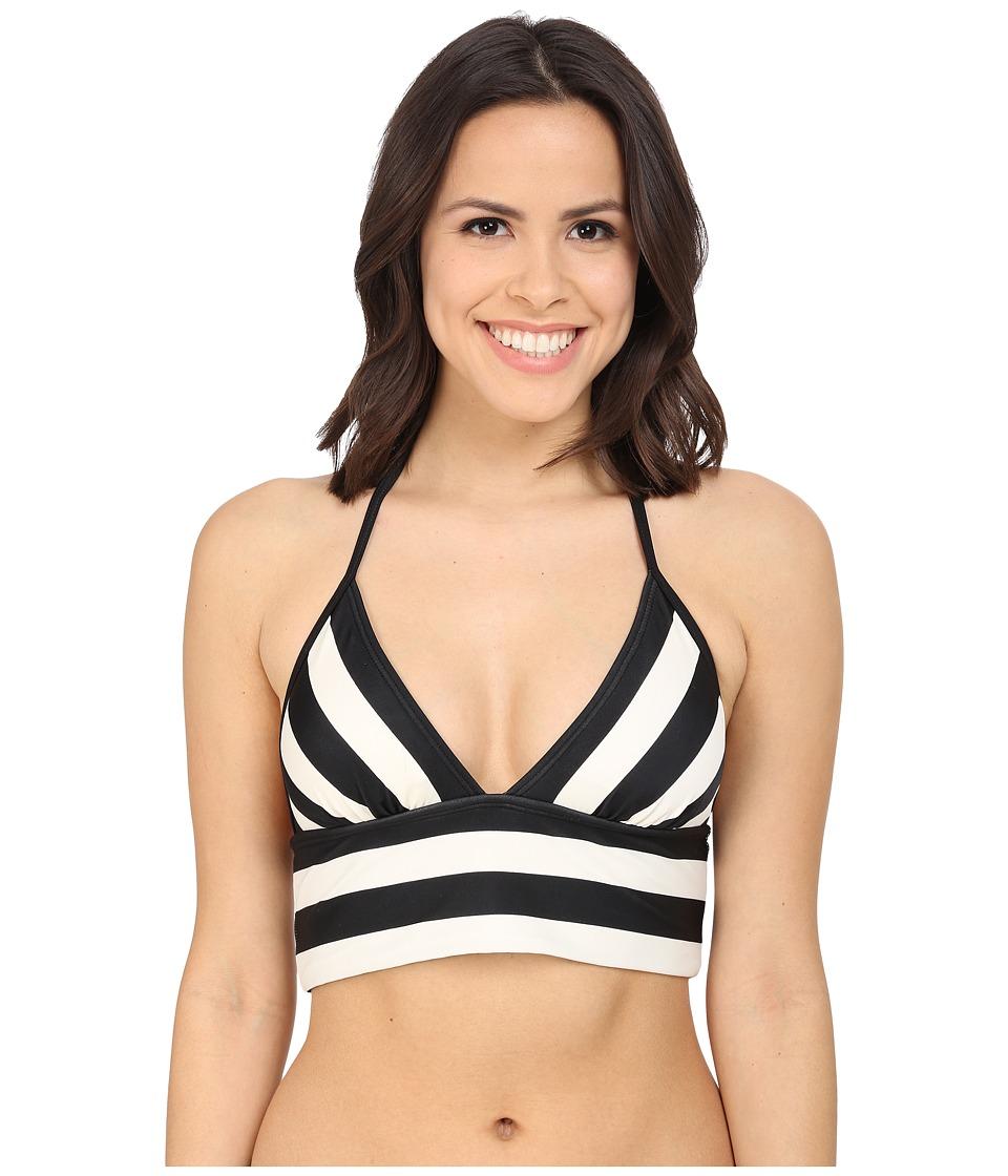 DKNY Iconic Stripe Triangle Bralette w/ Removable Soft Cups Black Womens Swimwear