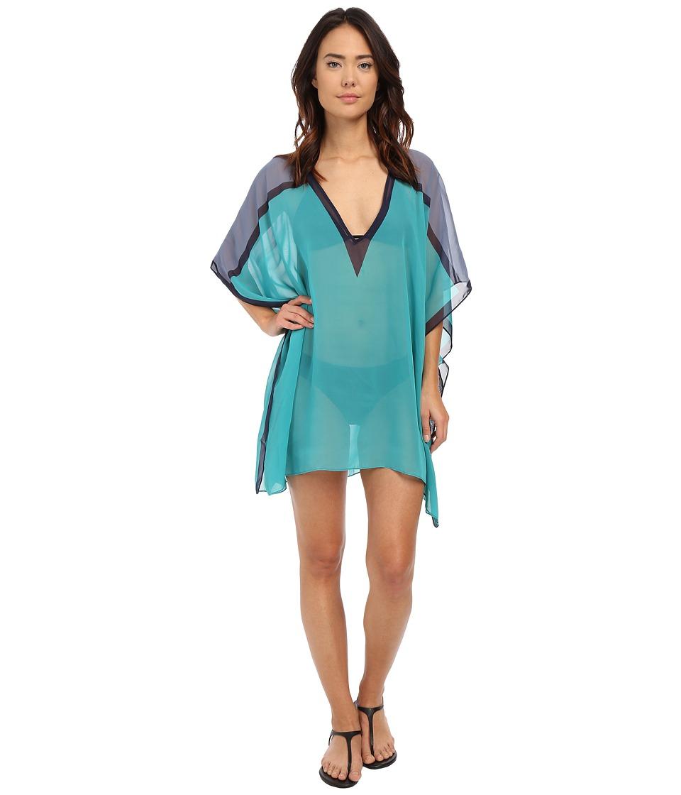 DKNY Street Cast Solids Color Blocked Kaftan Cover Up Jade Womens Swimwear