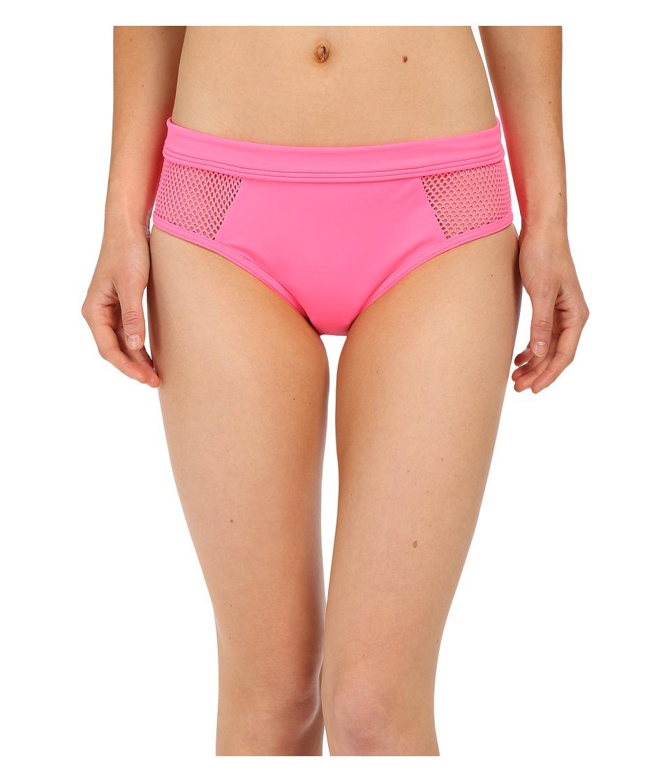 DKNY Mesh Effect Mesh Splice Hipster Bottom Pink Flirt Womens Swimwear