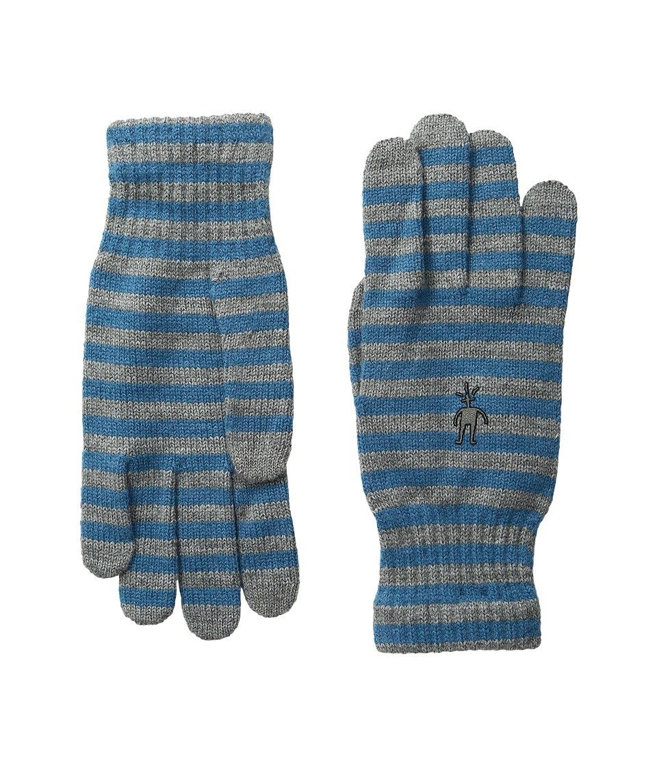 Smartwool Striped Liner Glove (Glacial Blue Heather) Extreme Cold Weather Gloves