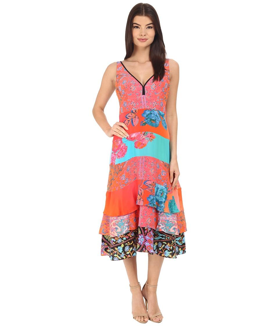 Nanette Lepore Eddie Slip Coral Multi Womens Dress