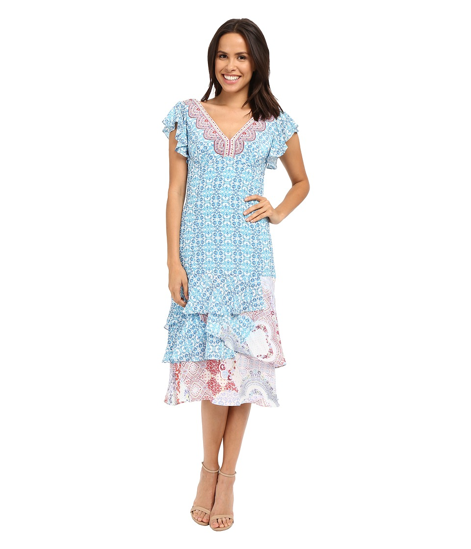 Nanette Lepore Picturesque Dress Light Blue Multi Womens Dress