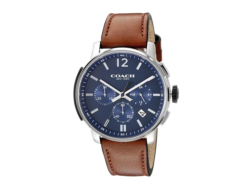 COACH - Bleecker Chrono Leather (Matte Navy) Watches