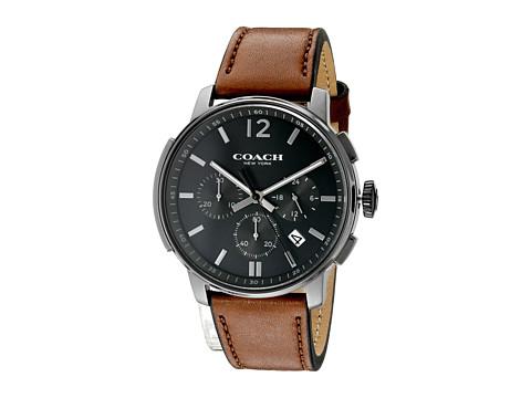 COACH Bleecker Chrono Leather - Dark Grey Sandblast