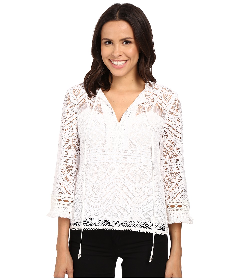 Nanette Lepore Delicate Lace Top Ivory Womens Sweater