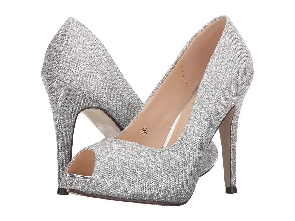 Paradox London Pink Yummy Silver Glitter Mesh Womens Shoes