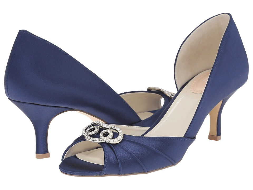 Paradox London Pink Amelia Navy Satin Womens Shoes