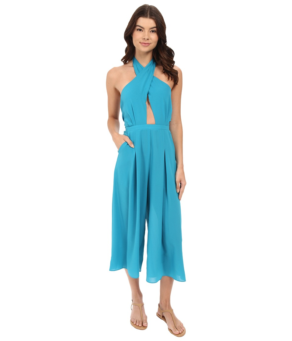 6 Shore Road by Pooja - Coco Floral Poolside Jumpsuit Cover-Up (Teal) Women's Jumpsuit & Rompers One Piece