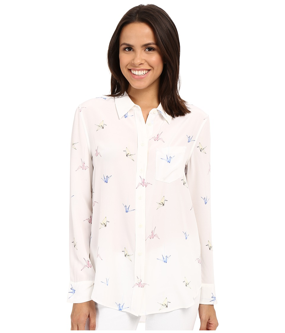 EQUIPMENT Reece Bright White Multi Womens Long Sleeve Button Up