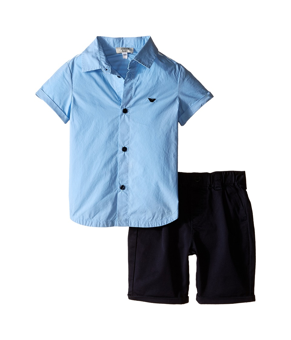 Armani Junior Button Down with Navy Pants Infant Stucco Boys Active Sets