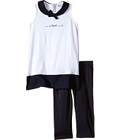 Armani Junior - Tunic Set with Navy Collar and Bow/Navy Leggings (Toddler/Little Kids/Big Kids)