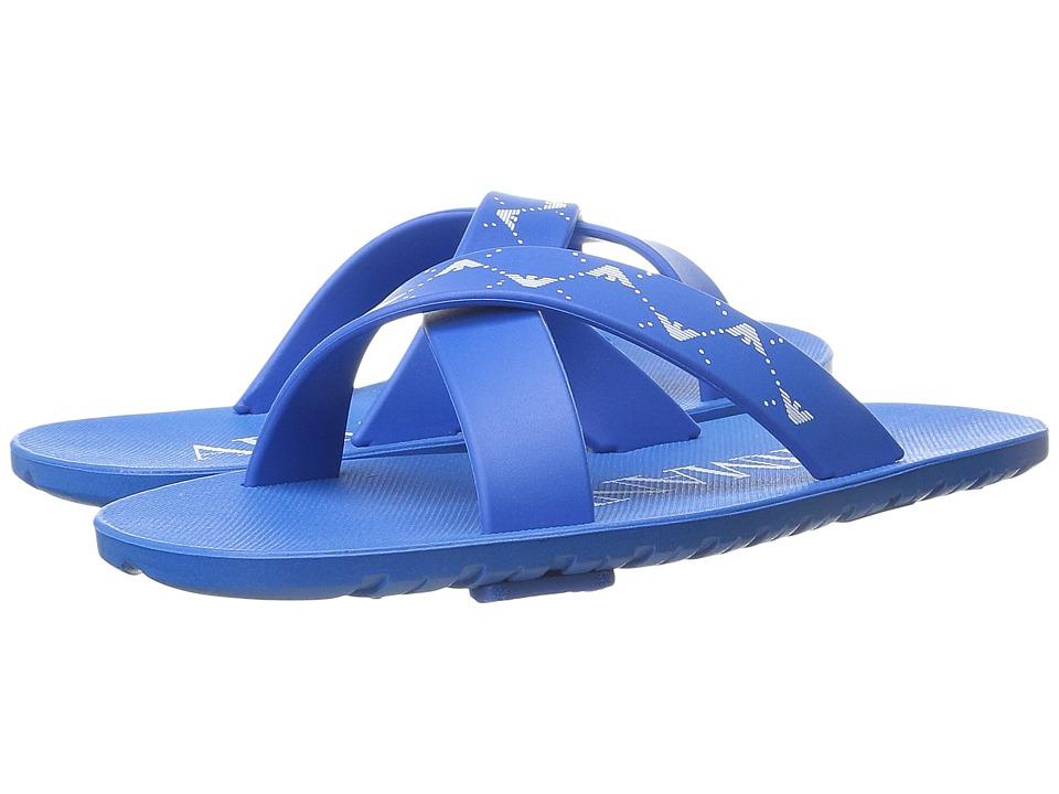 Armani Junior Cross Front Slip On Little Kid/Big Kid Cyan Boys Shoes