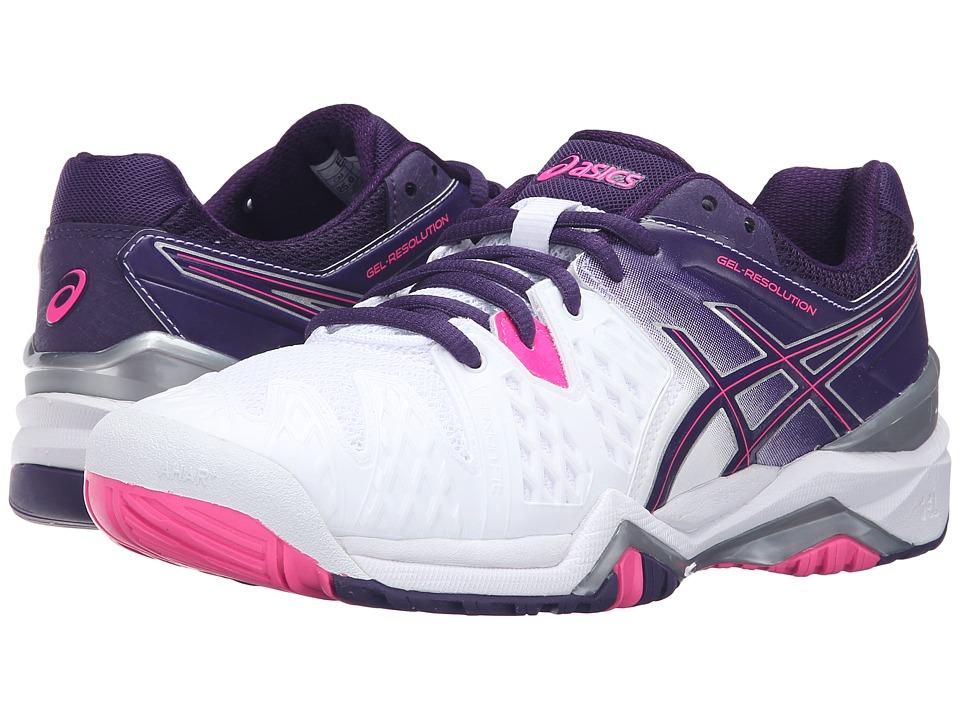 ASICS GEL-Resolution 6 (White/Parachute Purple/Hot Pink) Women