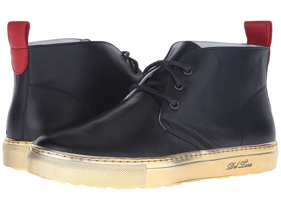 Del Toro - High Top Chukka Sneaker (Black/Gold) Men's Shoes