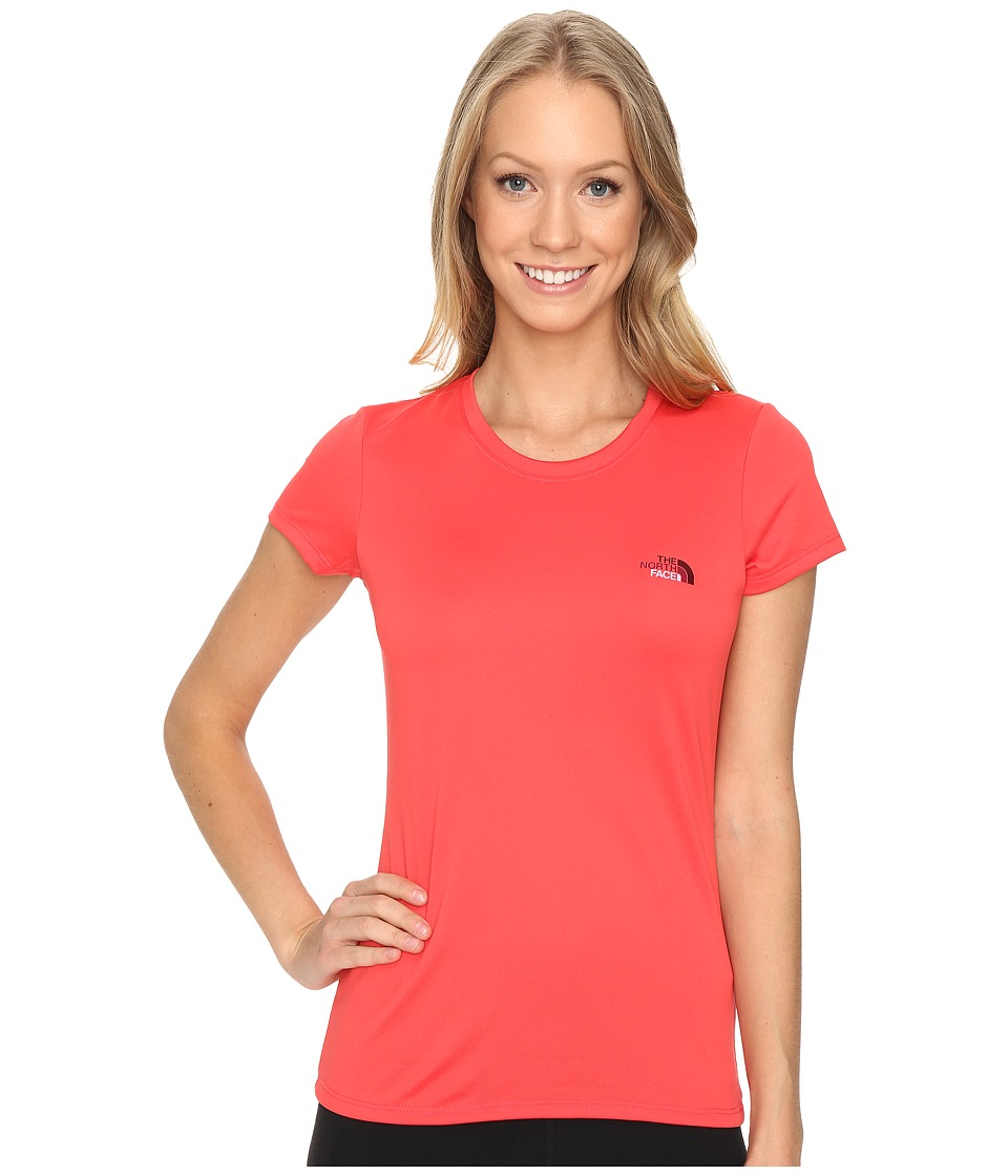 The North Face Short Sleeve Reaxion Amp Tee (Melon Red/Biking Red Multi) Women