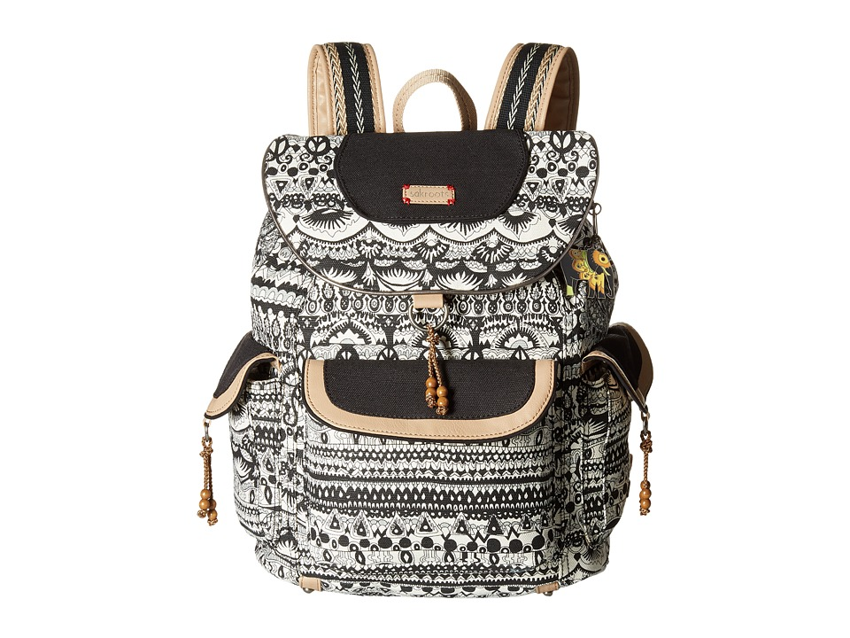 Sakroots - Sakroots Artist Circle Flap Backpack (Black/White One World) Backpack Bags
