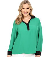 Calvin Klein Plus - Plus Size Long Sleeve w/ Contrast Collar & Cuff